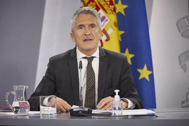 El ministre d'Interior, Fernando Grande-Marlaska, en una compareixença a La Moncloa