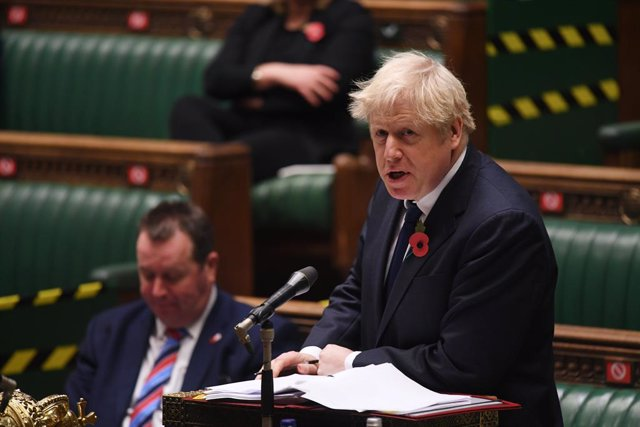 11 November 2020, England, London: UK Prime Minister Boris Johnson speaks during the Prime Minister's Questions at the House of Commons. Photo: Jessica Taylor/Uk Parliament via PA Media/dpa