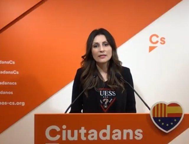 La portaveu de Cs al Parlament, Lorena Roldán, en una roda de premsa telemàtica