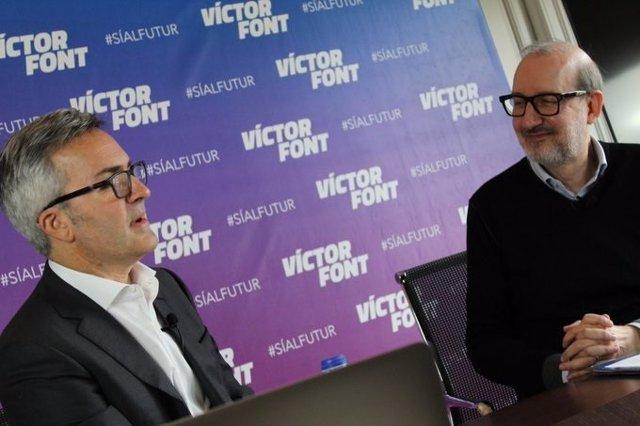 El precandidato a la presidencia del FC Barcelona Victor Font con el periodista Antoni Bassas, que sería su jefe de Gabinete de Presidencia