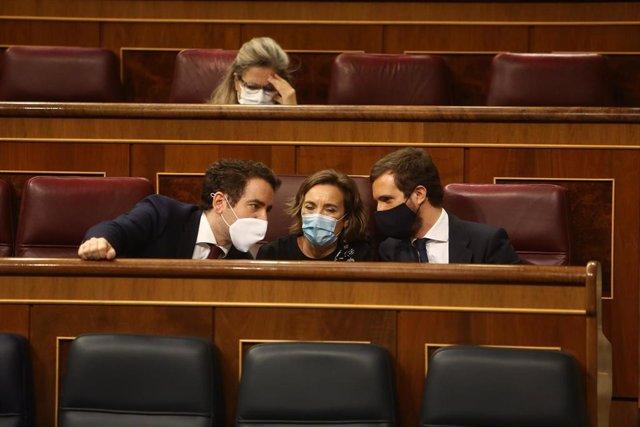 (I-D) El secretario general del PP, Teodoro García Egea; la portavoz el Grupo Popular, Cuca Gamarra; y el líder del PP, Pablo Casado, conversan durante una sesión plenaria del Congreso