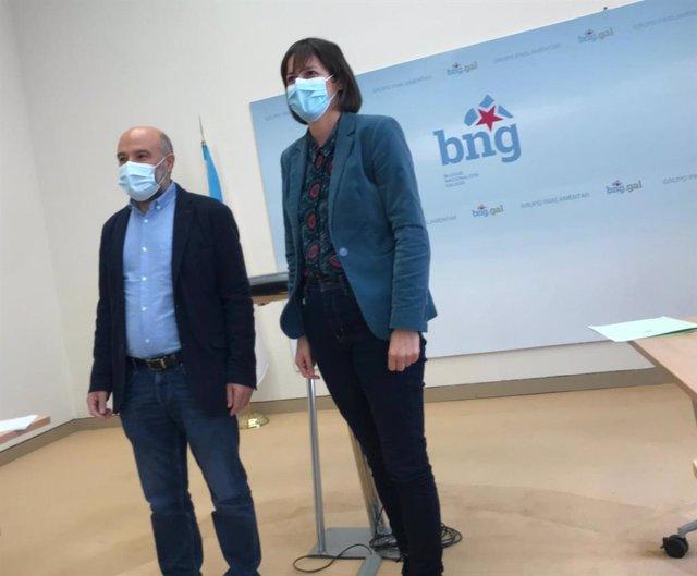 Néstor Rego, diputado del BNG en el Congreso, y Ana Pontón, portavoz nacional del BNG, en rueda de prensa