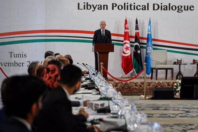 09 November 2020, Tunisia, Tunis: Tunisian President Kais Saied speaks at the opening of the UN-brokered Libyan Political Dialogue Forum. Photo: Khaled Nasraoui/dpa