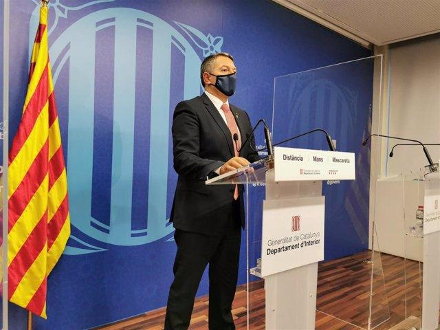 El conseller de Interior, Miquel Sàmper, en rueda de prensa telemática desde el Departamento el 29 de octubre de 2020.