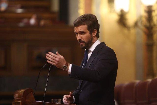 El líder del PP, Pablo Casado, durante una intervención en el Pleno del Congreso.