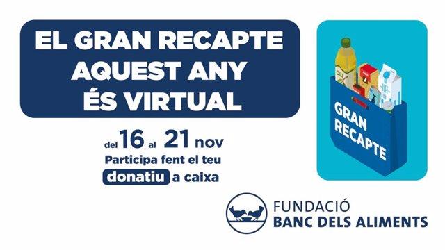 Cartell del Gran Recapte dels bancs d'aliments catalans.