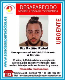 Joven vecino de Narón (A Coruña) que permanece en paradero desconocido desde mediados de septiembre.