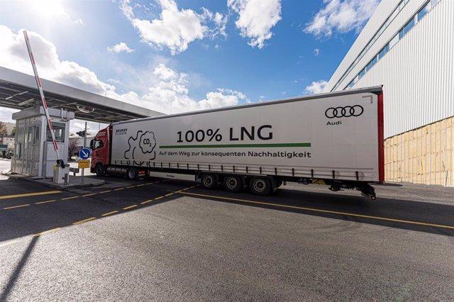 Camión de gas natural utilizado por Audi.