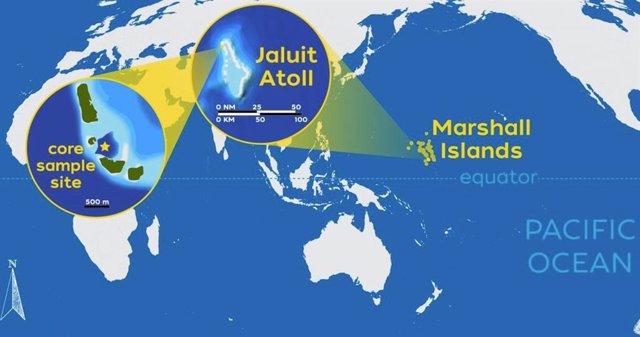 Los investigadores de WHOI reconstruyeron 3.000 años de historia de tormentas en el atolón Jaluit en el sur de las Islas Marshall, lugar de nacimiento de ciclones en el Pacífico Norte occidental, la zona de ciclones tropicales más activa del mundo