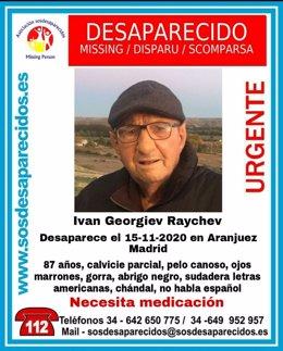 Desaparece un hombre de 87 años en Aranjuez que necesita medicación