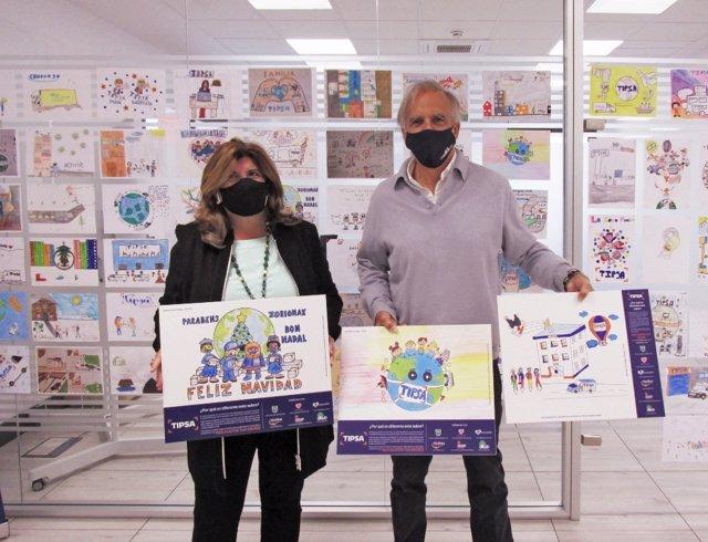 La consejera delegada de Tipsa, Marisa Camacho; y el presidente de Fundación Aladina, Paco Arango, presentando  la campaña de sobres solidarios