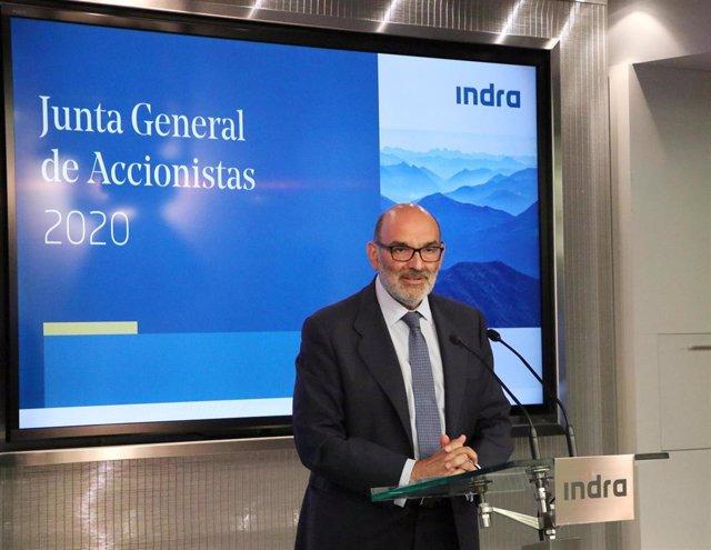 Fernando Abril-Martorell, presidente de Indra, en la junta general de accionistas de 2020