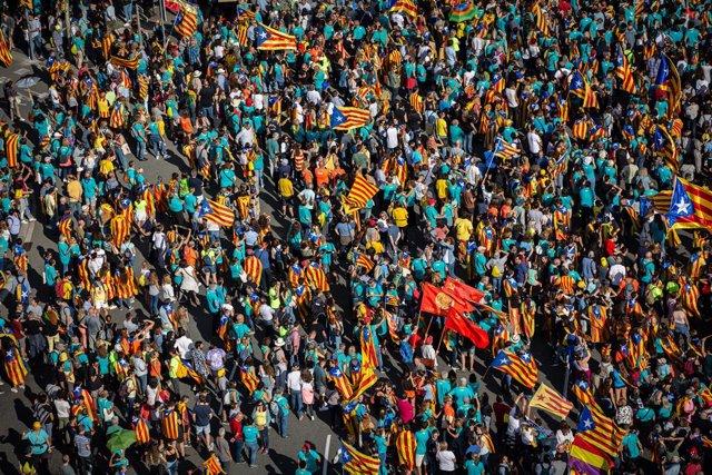 Manifestació de l'ANC durant la Diada de Catalunya 2019. Barcelona (Espanya), 11 de setembre del 2019.