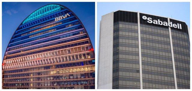Sedes de BBVA y Banco Sabadell.