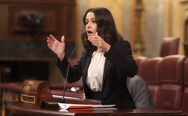 La presidenta de Ciutadans, Inés Arrimadas, al Congrés.