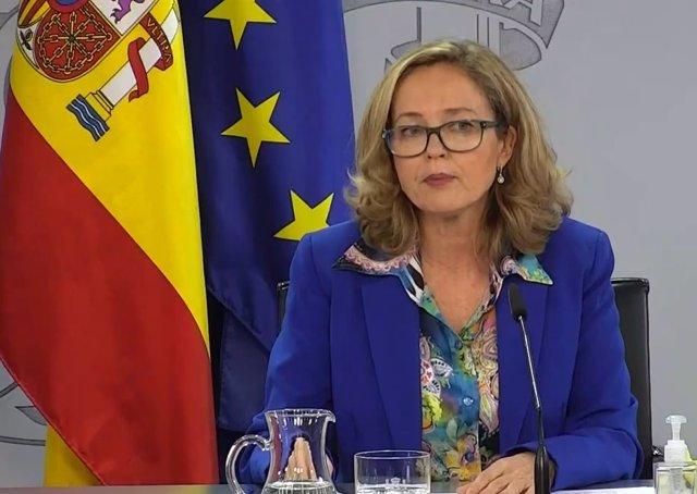 La vicepresidenta tercera del Gobierno y ministra de Asuntos Económicos, Nadia Calviño, tras la reunión del Consejo de Ministros del 17 de novimbre de 2020.