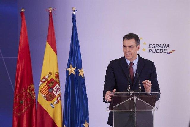 El presidente del Gobierno de España, Pedro Sánchez, en Pamplona, Navarra (España), a 13 de noviembre de 2020