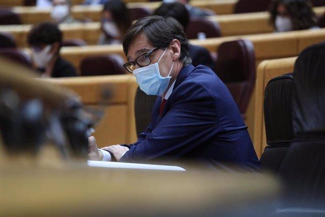 El ministro de Sanidad, Salvador Illa, en una sesión de control al Gobierno en el Senado, en Madrid (España), a 3 de noviembre de 2020.