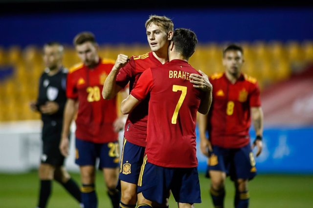 Dani Gomez of Spain Sub21 celebrates a goal during the UEFA Under 21 Championship football match played between Spain and Kazakhstan at Santo Domingo stadium on october 13, 2020 in Alcorcon, Madrid, Spain.
