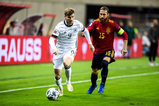 Timo Werner of Germany and Sergio Ramos of Spain during the UEFA Nations league match between Spain and Germany at the la Cartuja Stadium on November 17, 2020 in Sevilla Spain