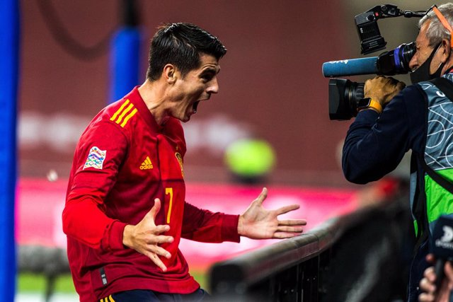 Celebrate score of Alvaro Morata of Spain during the UEFA Nations league match between Spain and Germany at the la Cartuja Stadium on November 17, 2020 in Sevilla Spain