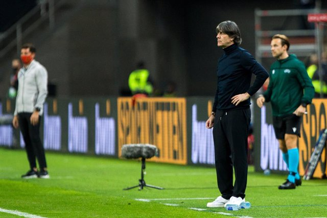 Joachim Low, head coach of Germany, during the UEFA Nations league match between Spain and Germany at the la Cartuja Stadium on November 17, 2020 in Sevilla Spain