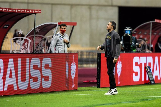 Luis Enrique Martinez, head coach of Spain, during the UEFA Nations league match between Spain and Germany at the la Cartuja Stadium on November 17, 2020 in Sevilla Spain
