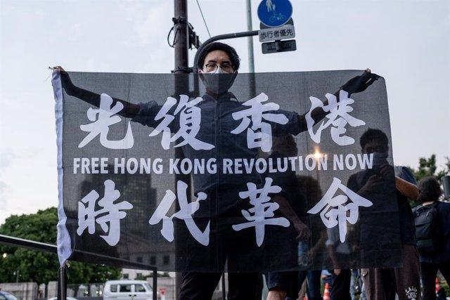 Manifestación celebrada en Tokio, Japón, contra la Ley de Seguiridad Nacional de Hong Kong., decretada por el Gobierno de Pekín.
