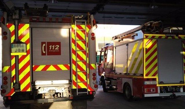 Camión de bomberos en un imagen de archivo