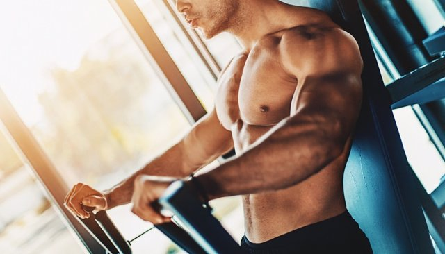 Chest workout at gym.