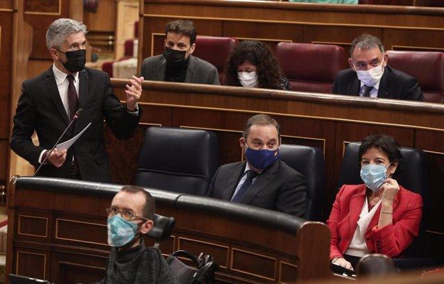 El ministro del Interior, Fernando Grande-Marlaska, en un Pleno del Congreso