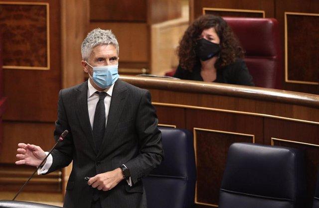 El ministro de Interior, Fernando Grande-Marlaska, en una intervención en el Congreso