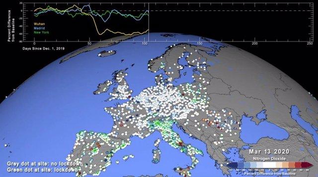 Emisiones NO2 durante 2020 en Europa