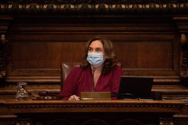 L'alcaldessa de Barcelona, Ada Colau, a l'Ajuntament. Barcelona, Catalunya (Espanya), 30 d'octubre del 2020.
