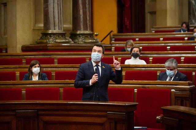 El vicepresident de la Generalitat, Pere Aragonès, en la sessió de control al Govern.