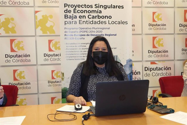 La vicepresidenta primera de la Diputación de Córdoba, Dolores Amo, participa en el webinar 'Trámites electrónicos con las Administraciones públicas. Contratación Pública; Sector instalaciones energéticas: Oportunidades de negocio'