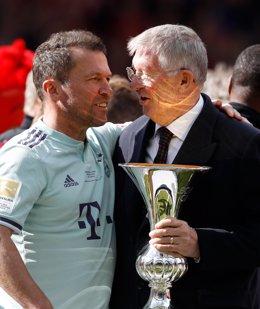 Lottar Matthaus y Alex Ferguson