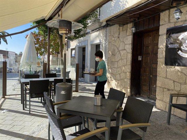 Terraza de un bar en Coria