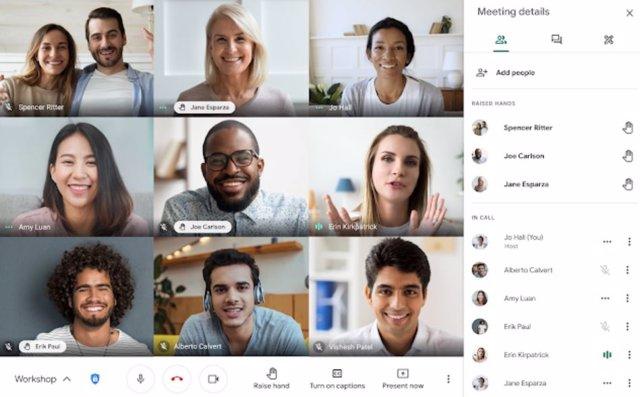 Función 'levantar la mano' en Google Meet