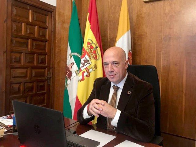 El presidente de la Diputación de Córdoba, Antonio Ruiz, durante el Pleno telemático de la institución provincial correspondiente al mes de noviembre
