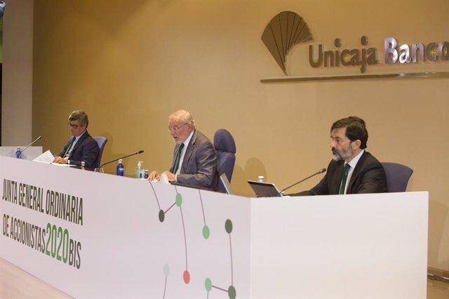 Imagen de la Junta General de Accionistas de Unicaja Banco, celebrada el 28 de octubre de forma virtual.