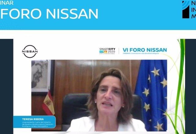 Teresa Ribera durante su intervención en el VI Foro Nissan.