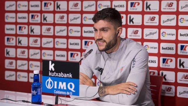 El jugador del Athletic Club Unai Nuñez, en la rueda de prensa sobre su renovación hasta 2025