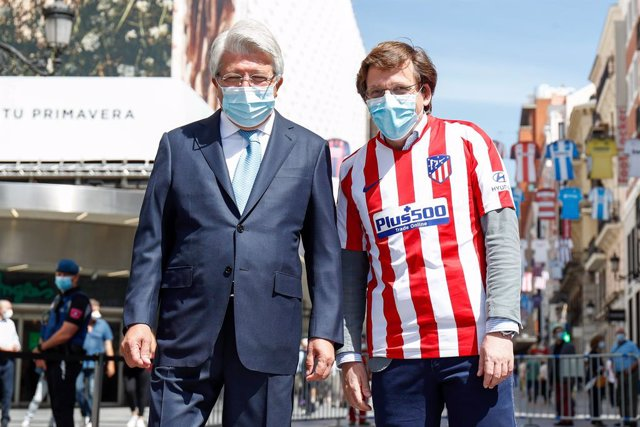 Enrique Cerezo, President of Atletico de Madrid, and Jose Luis Martinez-Almeida, Mayor of Madrid, seen during an event celebrated on Calle Preciados in Madrid in which the City Council supports the restart of the remaining matches of LaLiga in Spanish foo