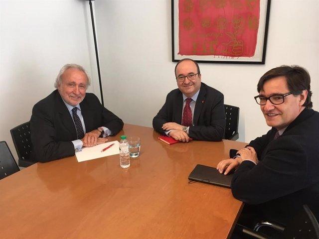 Antoni Fernández Teixidó (Lliures) es reuneix amb Miquel Iceta i Salvador Illa (PSC).