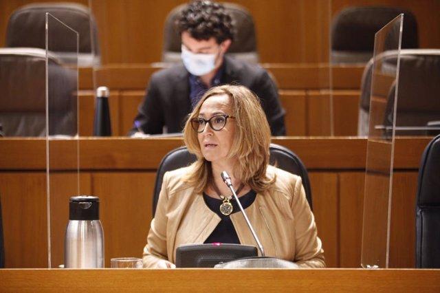 La consejera de Presidencia y Relaciones Institucionales del Gobierno de Aragón, Mayte Pérez, presenta los Presupuestos de su Departamento para 2021.