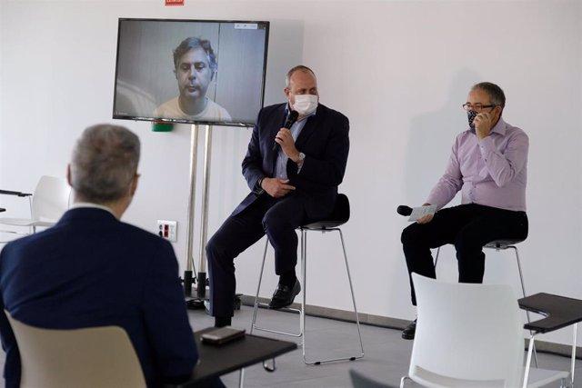 El vicepresidente del Cabildo de Tenerife, Enrique Arriaga, en la presentación del primer videojuego de Mindiff