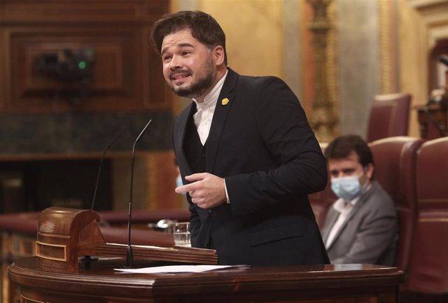 El portavoz de ERC en el Congreso, Gabriel Rufián, interviene en el Congreso de los Diputados