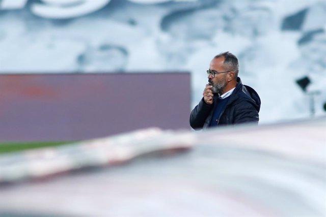 Alvaro Cervera, head coach of Cadiz, gestures during the spanish league, La Liga Santander, football match played between Real Madrid and Cadiz CF at Alfredo Di Stegfano stadium on October 17, 2020 in Madrid, Spain.