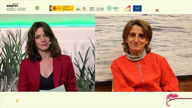 La vicepresidenta cuarta del Gobierno y ministra para la Transición Ecológica y el Reto Demográfico, Dª Teresa Ribera Rodríguez, participa  en la sesión inaugural de #Adaptes, la I Conferencia Ibérica para la Adaptación al Cambio Climático